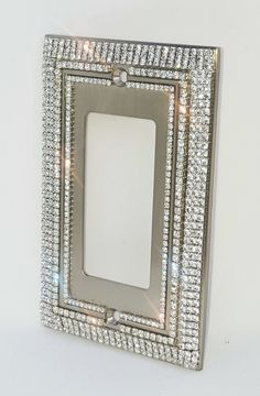Custom Handmade decorative switch plate covers with AAA grade diamond cut crystal rhinestones accenting the exterior and interior borders of each cover. Decorative Light Switch Covers, Switch Plate Covers, Light Switch Plates, Bling Bedroom, Mirrored Furniture, Diamond Furniture, Glitter Furniture, Handmade Home Decor, Handmade Decorations