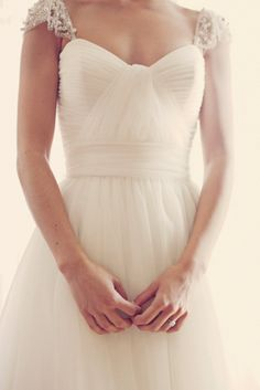 Wedding dress with Jeweled cap sleeves