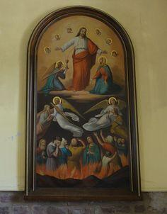 """Alsace, Bas-Rhin, Wolxheim, Chapelle Saint-Denis, Tableau de Caroline Sorg """"Christ ressuscité, sauveur des âmes du purgatoire"""" (1886)"""