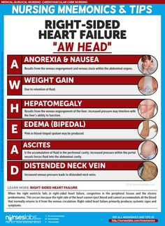 "Right-Sided Heart Failure Manifestations: ""AW HEAD""   Cardiovascular Care Nursing Mnemonics and Tips: http://nurseslabs.com/cardiovascular-care-nursing-mnemonics-tips/"