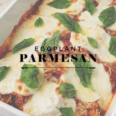 This easy baked eggplant Parmesan is such a healthy, delicious vegetarian dinner recipe. It's made with crispy baked eggplant slices, marinara, and fresh mozzarella cheese. Baked Eggplant Slices, Veggie Lasagna, Homemade Marinara, Eating Fast, Eggplant Parmesan, Veggie Side Dishes, Fresh Mozzarella, Vegetarian Recipes Dinner, Roasted Cauliflower