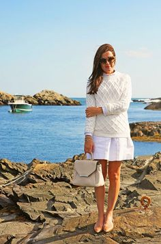 Another of those completely impractical outfits that I love to pieces. Chunky knit white on white with nude flats.