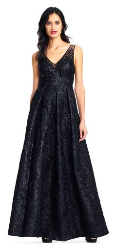 Adrianna Papell | Sleeveless Metallic Jacquard Gown with Sequin Illusion Neckline