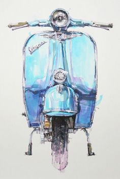 Vespa Source by ruthenzer Motos Vespa, Vespa Scooters, Scooter Scooter, Lambretta, Piaggio Vespa, Vintage Vespa, Motorcycle Art, Bike Art, Vespa Illustration