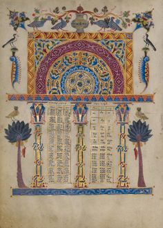 Canon tables from the Zeyt'un Gospels; T'oros Roslin (Armenian, active 1256 - 1268), T'oros Roslin (Armenian, active 1256 - 1268); Hromklay, Armenia; 1256; Tempera colors, gold paint, and ink on parchment; Ms. 59; Gift of the Catholicosate of the Great House of Cilicia; J. Paul Getty Museum, Los Angeles, California