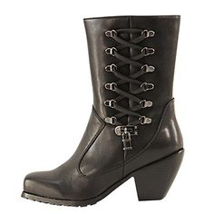<b>Xelement Women's Lace and Lock Leather Biker Boots</b><br><br>Outer Side: Lace Up Side with Lock<br>Inner Side: Full Side Zipper Closure<br><br>Only Found here at the webs # 1 Online Leather Store. Buy a pair now and save big! Xelement Footwear is the Brand trusted by bikers worldwide to provide protection, flexibility, and long term durability of all their products.