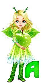 Alfabeto de hadas con manzana.