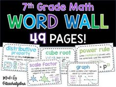 7th Grade - Pre-Algebra Middle School Math Word Wall 49 Posters