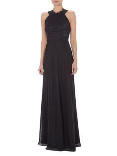 08f180011a51 LAONA Abendkleid mit Collierkragen und floraler Spitze in Grau   Schwarz  online kaufen (9191176)
