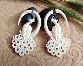 "Fake Gauge Earrings, ""Tribale Fleur"" Naturally Organic, Bone, Hand Carved. $25.00, via Etsy."