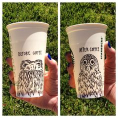 Before and after coffee by Holli Dougan. #WhiteCupContest YAY ANOTHER ONE OF MY CUPS!!!!(: