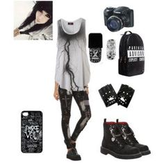 punk / rock / emo / outfit / style That top! Emo Outfits, Grunge Outfits, Band Outfits, Scene Outfits, Rock Outfits, Fashion Outfits, Skater Outfits, Disney Outfits, Fashion Boots