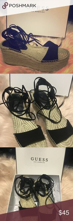 Guess platform espadrilles New new with box! Black suede, lace up style. Super confy, trendy and great for the warmer days ahead!  Beach, cruise and everyday must have!   Follow me and check my closet for more amazing finds! Guess Shoes Espadrilles