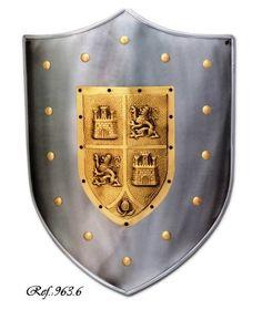 Escudo Castilla y león, escudo medieval de acero liso con grabado de castillos y leones
