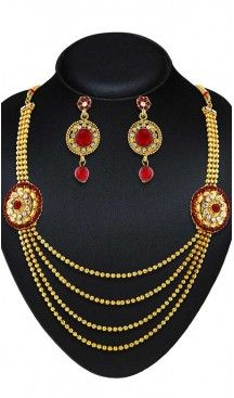 Red,Gold Color American Diamond,Stone Work Artificial Necklaces Set | FH500876611 Follow us @heenastyle  #Necklace #onlineshopping #necklaceset #forsale #gold #artificial #goldplated #designs #fashion #jewelry #fashionjewellry #accessories #womenfashion #pendentset #earing #jumkis #bangle #bracelets #mangalsutra #tikka #headpieces #handbags #cluethesbeg #ring #indianfashion #fashionista #anklets #bridelset #weddingset #dimondset #brass #metal #heenastylenecless #heenastyle