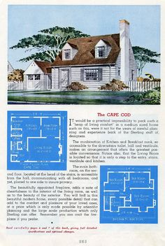 Medium size Colonial Revival cape style - 1945 Sterling House Plans - The Cape Cod Plan Tiny Houses Plans With Loft, House Plans With Pictures, Small House Floor Plans, House Layout Plans, House Layouts, Vintage House Plans, Vintage Houses, Sterling Homes, Cape Cod Style House