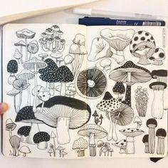 Fabulous Drawing On Creativity Ideas. Captivating Drawing On Creativity Ideas. Art And Illustration, Illustration Inspiration, Sketchbook Inspiration, Sketchbook Ideas, Doodle Inspiration, Art Illustrations, Journal Inspiration, Mushroom Drawing, Mushroom Art