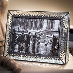 J Devlin Pic 37657H Grey Stained Glass Picture Frame Holds 5x7 Horizontal Landscape Photo