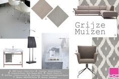 Inspiration Moodboard Grijze Muizen DRT Gietvloeren, Cosentino, Graham & Brown, Rolf Benz, Blomus, Dornbracht, Duravit