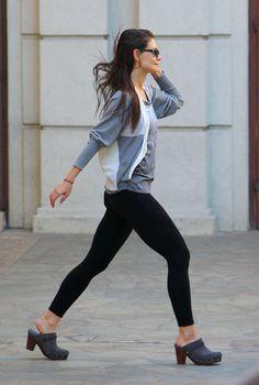 Katie Holmes wearing clogs