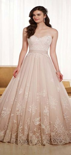 Blush colored wedding dress