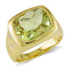 Miadora 14k Gold Lemon Quartz and 1/10ct TDW Diamond Ring