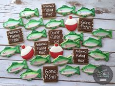 Gone fishing theme cookies by The Cookie Confectionery Temecula Ca Themed Birthday Cakes, Birthday Cookies, 70th Birthday, Birthday Parties, Fish Cookies, Cut Out Cookies, Sugar Cookies, Dad Cake, Baby Fish