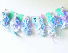 Seaweed Mermaid Garland| Mermaid Birthday Banner Mermaid Party Favors, Mermaid Party Decorations, Mermaid Parties, Mermaid Diy, Birthday Numbers, Party Favor Tags, Personalized Favors, Ribbon Crafts, Mermaid Birthday
