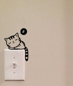 Dormir gato interruptor lindo vinilo Wall Decal por imprinteddecals