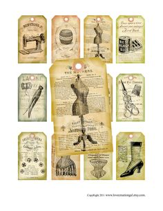 Items similar to Vintage Shabby Chic Dress form Sewing machine Buttons thread Clothes pin Gift Price Tags Paris ACEO Cards Digital Collage Sheet Images on Etsy Vintage Tags, Vintage Labels, Vintage Sewing, Etsy Vintage, Shabby Chic Dress, Vintage Shabby Chic, Silhouettes, Etiquette Vintage, Sewing Rooms