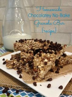 Homemade Chocolatey No-Bake Granola Bar {recipe}