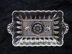 Vintage Glassware Columbia Crystal DEPRESSION Rectangle Relish Dish via Orphaned Treasures Etsy