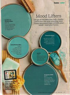 Paint Colors colors for the home . color grouping of chalky blues . Better Homes and Gardens .colors for the home . color grouping of chalky blues . Better Homes and Gardens . Blue Paint Colors, Wall Colours, Color Blue, Mint Paint, Office Paint Colors, Accent Wall Colors, Mood Colors, Brown Paint, Grey Paint
