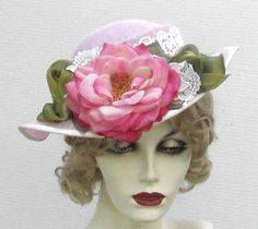 Womens Flowered Hat Edwardian Summer Boater Hats in Pink with Lace Rose. $215.00, via Etsy.