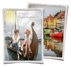 """""""Nyhavn Harbour in Copenhagen and Viking Ship"""" by kiki-bi ❤ liked on Polyvore featuring art"""