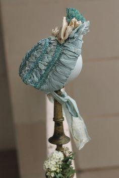 Wonderful straw doll hat / bonnet,  German or French antique doll