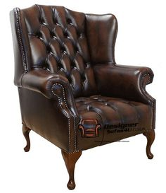 Chesterfield Mallory Buttoned Seat Flat Wing Queen Anne High Back Wing Chair UK Manufactured Antique Brown, Traditional Sofas