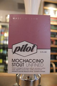 Name: Mochaccino Stout Brewery: Pilot, Edinburgh, Scotland ABV: 5.5% Style: Stout - Glorious diary cream velvet texture as counterpoint to a robust, freshly ground coffee tasting stout. Pilot are making fine beers and hopefully their name will become well known too! This brewery is one to watch. [8.5] #scottishbeer #craftbeer