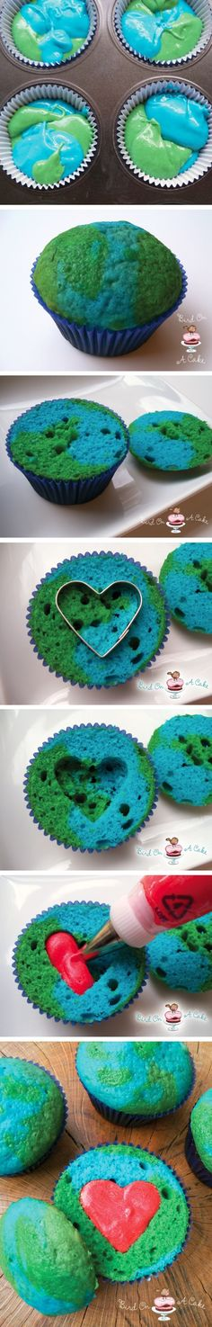 earth day cupcakes | cut off the top, but do the heart cutout through the top instead & put the icing in the middle so the heart shows through the top!