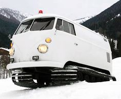 1966 VW Bus With Snowmobile Tracks