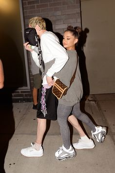 which 'bun' look from last year is your favorite? Ariana Grande Outfits, Louis Vuitton Crossbody Bag, Glitzy Glam, Dad Shoes, My Baby Daddy, Chunky Sneakers, Pretty Boys, Celebrity Style, Street Wear