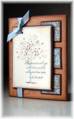 Love the layout  Stamps: Branch out, Baroque motifs, words of wisdom  Paper: choc chip, creamy carmel, very vanilla, parisian breeze dsp, bashful blue  Ink: bashful blue, close to cocoa, choc chip  Accessories: bashful blue tafeta ribbon, sponge, slot punch, dimensionals