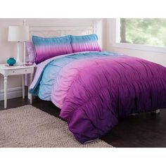 Latitude Ombre Ruched Reversible Complete Bedding Set, Purple