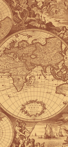 Old world map mural wallpaper available in different hues World Map Mural, World Map Wallpaper, Retro Wallpaper, Screen Wallpaper, Wallpaper Backgrounds, Aztec Wallpaper, Travel Wallpaper, Iphone Backgrounds, Iphone Wallpapers