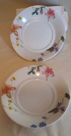 "Set of 2 Mikasa 6"" Saucer Curved Plate Lilliette /  Floral Splendor FREE SHIP"