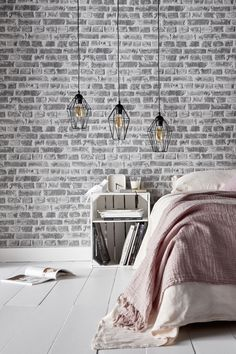 A white brick trompe-l & # wallpaper, Castorama - Home & DIY Bedroom Styles, Basement Remodeling, Brick Wall, My House, Living Room Decor, Wallpaper, Cladding, Home Decor, Marie Claire