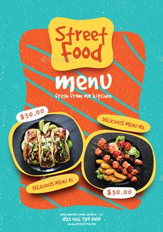 Buy Street Food Menu by monggokerso on GraphicRiver. Street Food Menu Flyer File Features : Size + Bleed area CMYK / 300 dpi Easy to edit text Well organized. Food Graphic Design, Food Menu Design, Food Poster Design, Graphic Design Posters, Ad Design, Graphic Design Inspiration, Food Branding, Food Packaging Design, Logo Food