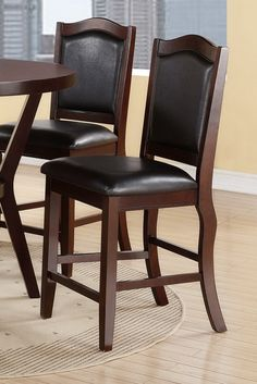 Set of 2 dark espresso finish wood and black faux leather counter height bar chairs