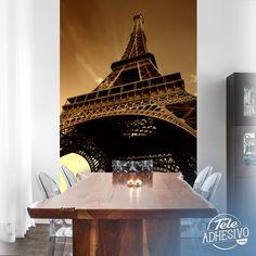 Fotomurales: Torre Eiffel contrapicado, visto desde abajo #parís #ciudad #decoración #pared #TeleAdhesivo Dining Table, Kitchen, Home Decor, Famous Pictures, Tour Eiffel, Towers, Vinyls, Cooking, Decoration Home