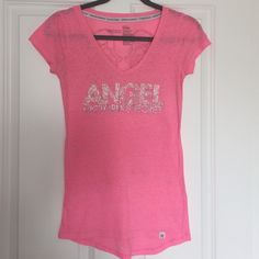 Victoria's Secret Supermodel Bling Tee!! Victoria's Secret Supermodel Essentials tee!! Super soft pink and white marl- it's supposed to have a slightly worn look. All embellishments are in tact and in great condition!! Victoria's Secret Tops Tees - Short Sleeve